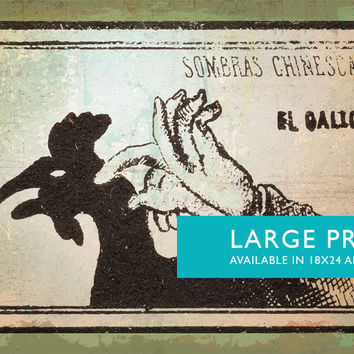 Mexican Shadow Puppet Show Print El Gallo Decor Giclee Print on Cotton Canvas and Satin Photo Paper Poster Home Wall Art