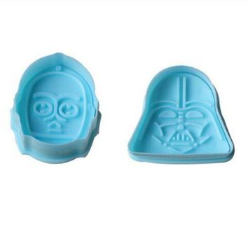 ONETOW 4Pcs Star Wars Pattern Plastic Baking Mold,Kitchen Stamp Biscuit Cookie Cutter