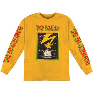 Bad Brains Men's  Capitol on Yellow  Long Sleeve Yellow
