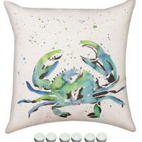 "Manual Woodworkers SLPSC8 Painted Sea Life Crab Climaweave Outdoor Indoor Pillow 18""x18"" with 6-Pack of Tea Candles"