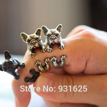 10pcs Lots New Style Hippie Mid Finger Cute Dog Ring Fashion Boho Chic Bague Brass knuckle Wedding Anel Rings For Women Men