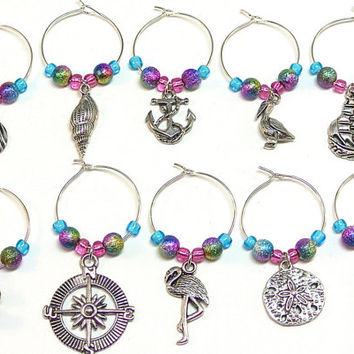 Nautical Wine Charms- 10 Beach Wine Glass Tags, Blue Green Purple Pink Glass Beads, Sailing Charms, Compass, Lighthouse, Shell, Sand Dollar