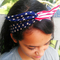 Patriotic American Flag dolly bow head band : Enter promo code at checkout for 20% off: SAVE20