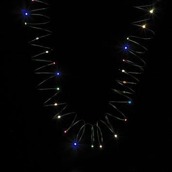 Set of 50 Faceted Multi Color LED C6 Christmas Lights - Green Wire