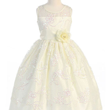 Ivory Lace & Sequin Flower Girl Dress with Pin on Flower