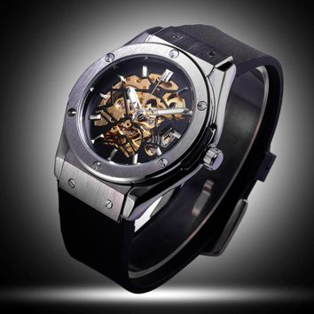 Winner Sport Design Mens Watches Top Brand Luxury Automatic Golden Skeleton