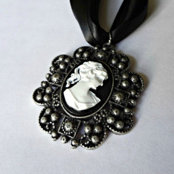 Black Cameo on Ribbon and Suede by EudaimoniaJewelry on Etsy