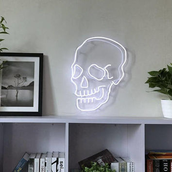 Skull Neon Art Sign Handmade Visual Artwork Home Wall Decor Light