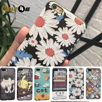 Lovely Daisy Flowers Case Cover for iPhone 6s 7 8 Plus Soft PU Leather Case s Cat Phone Cases for iPhone 7 7Plus capinhasKawaii Pokemon go  AT_89_9