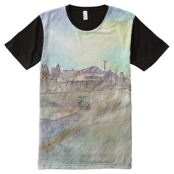 House photo drawing effect All-Over-Print shirt