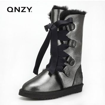 QNZY 100%Australia natural Sheep fur snow boots female winter Keep warm Flat heel Bandage Boots Knee height, Free shipping 35-44