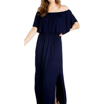 Off Shoulder Ruffle Maxi Dress, Navy