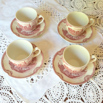 Johnson Bros./England Transferware/Old Britain Castles Set of 4 Tea Cups and Saucers/Cottage Charm