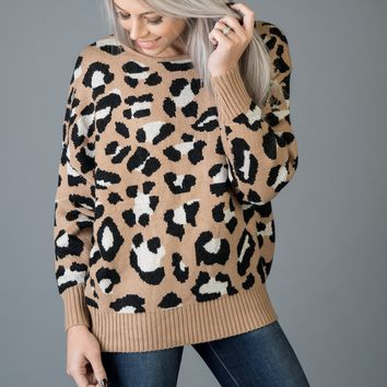Mocha Leopard Sweater with Open Back