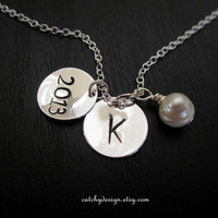 Graduation gift ,gift to graduates,cheap graduation gifts,Initial pearl necklace,2013 batch gift,simple everyday jewelry,bridesmaid gift