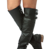 Black Slouch Faux Leather Knee High Riding Boots