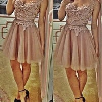 Khaki Lace-Paneled Skater Dress