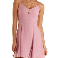Strappy Chiffon Skater Dress by Charlotte Russe