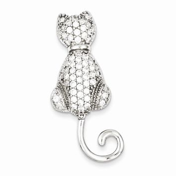 Sterling Silver CZ Cat Pin