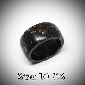 Size 10 US, Black men ring, Massive ring, Men jewelry, Black ring, Black band ring, Band ring, Wide ring, Staron ring, Black jewelry