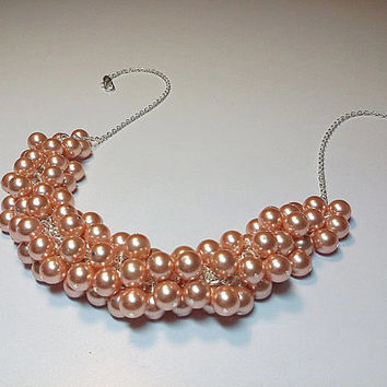 Swarovski Rose Peach Pearl Cluster Necklace, Mothers Day, Wedding Bridesmaid Jewelry, Christmas Gift, Mom Sister Jewelry Gift, Chunky