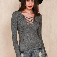 Charcoal Knitted Top