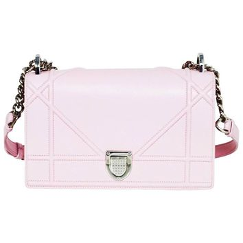 Christian Dior Pink Leather Small Diorama Flap Bag