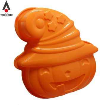 Silicone Jack-O-Lantern Spooky Pumpkin Mould For Halloween Figural Cake Decorating Top Mold Pan Holiday Bakeware Baking Tray