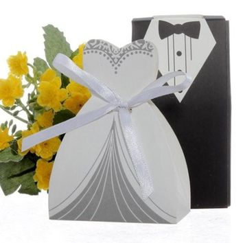 100pcs Party Wedding Favor Dress & Tuxedo Bride And Groom Candy Box With Ribbon