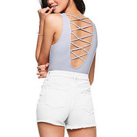 High-Neck Strappy Ribbed Bodysuit - PINK - Victoria's Secret
