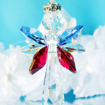 Crystal Angel Car Charm Red White Blue Patriotic Rear View Mirror Car Accessories