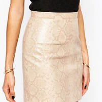 River Island | River Island Reptile Mini Skirt at ASOS