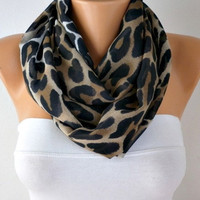 Leopard - Infinity Scarf Shawl Circle Scarf Loop Scarf Leopard Scarf - Gift -fatwoman