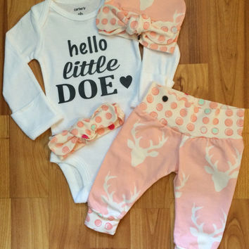 SUMMER SALE 15% off - Baby Coming Home Outfit - Baby Girl - Hello Little Doe - Deer Print - Pink - Polka Dot - going home outfit