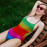 90's Rainbow Swimsuit / Ocean Pacific Neon Gradient Pinstripe Open Back High Cut Swimming Suit / OP Festival Pool Party Rave One Piece SMALL