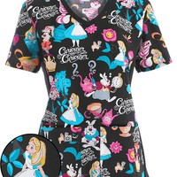 Tooniforms Disney Women's Alice's Tea Party Printed Scrub Top