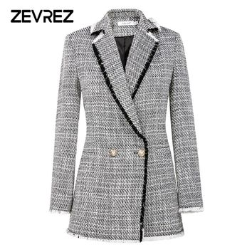 Autumn Fashion White Blazer Suit Women Sweet Double Breasted Female Long Sleeve Ladies Office Casual Blazer Jackets Coat Zevrez