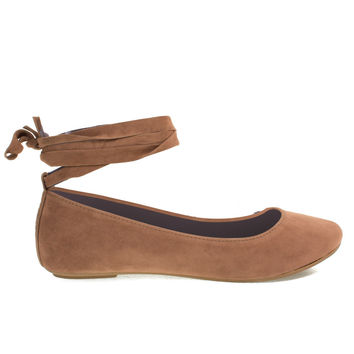 Chantel41S Camel By Bamboo, Ballet Ballerina Round Toe Flats w Leg Wrap Laces. Women Shoes