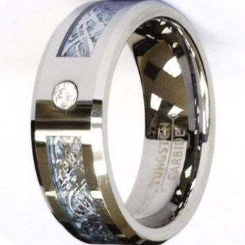 CERTIFIED 8Mm Silver Celtic Dragon Cz Blue Tungsten Carbide Ring Jewelry Wedding Band