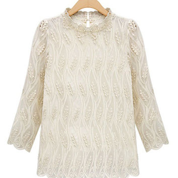 Embroidery Collar Long Sleeve Lace Top