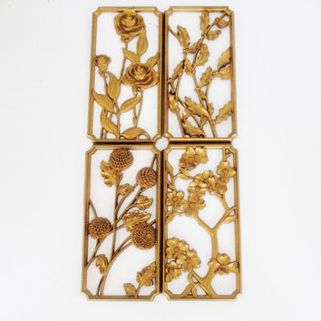 Vintage Floral Wall Hanging Mid Century Wall Plaques Four Seasons Floral Wall Art 4 Crestyle Gold Floral Wall Plaques Retro Art Flower