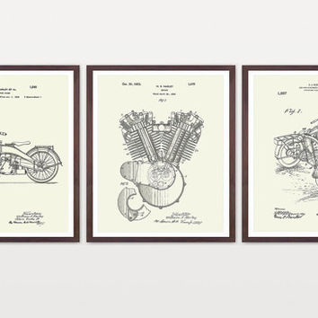 Harley Davidson Poster - Suite of 3 Prints - Harley Poster - Harley Davidson Motorcycle - Harley Engine - Harley Side Car - Motorcycle Art