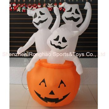 4 Foot Animated Halloween Inflatable Pumpkin and Three Ghost Yard Garden Decoration