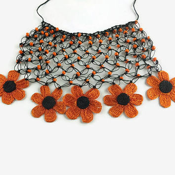 Statement Orange and black Crochet Necklace ~  Daisy Flower Necklace, Beaded Unique Necklace with Oya Flowers , Spring Summer Jewelry