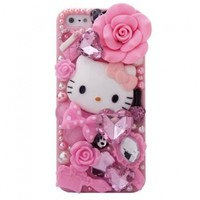 MinisDesign Dream Garden Series 3D Bling Luxury Design Rhinestone Pink Hello Kitty Diamond iPhone 5 case for The New Apple iPhone 5 (Package includes: 1 X Screen Protector and Extra Rhinestones):Amazon:Cell Phones & Accessories