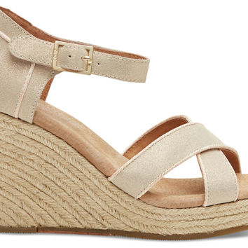 TOMS Metallic Suede Women's Strappy Wedges Natural