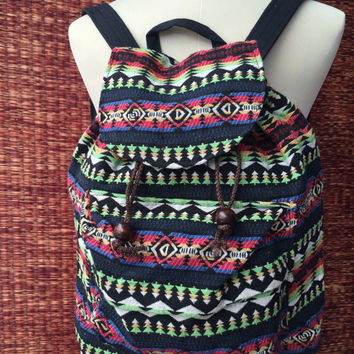Ethnic Backpack Tribal Boho Ethnic southwestern Hill tribe Styles fabric Ethnic ikat design Overnight travel bag Hippies folk red green