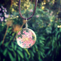 Pink flowers, dried flower in sphere pendant, Real flower necklace, Flower Jewelry, Glass Globe Necklace, Glass Dome Necklace