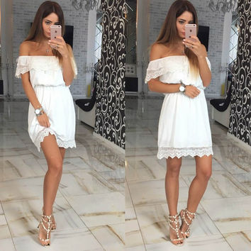 Off Shoulder Lace Patchwork Pure Color Short Dress