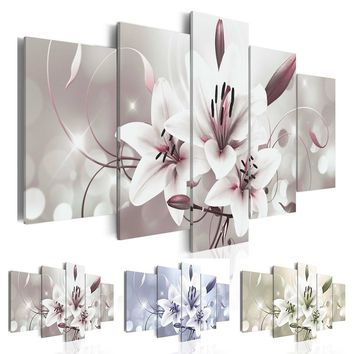 New Fashion Pink Flowers Lilies Abstract Art on Canvas Painting Wall Art Picture Print Home Decor Gifts for Love (Without Frame)